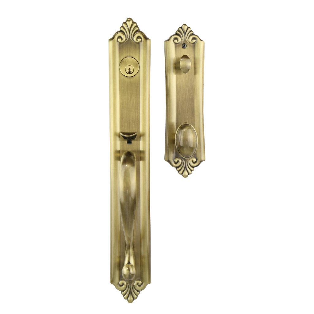 The Verona Tubular Antique Brass Entrance Handle Sets