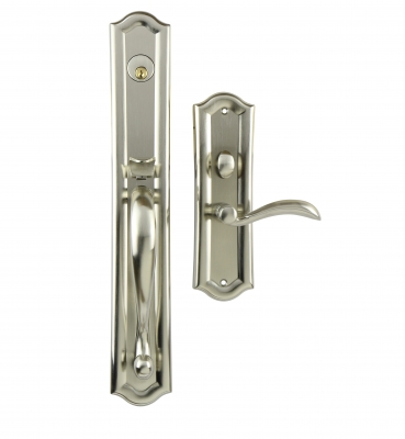 The Hampton – Mortise – Satin Nickel Entrance Handle Sets