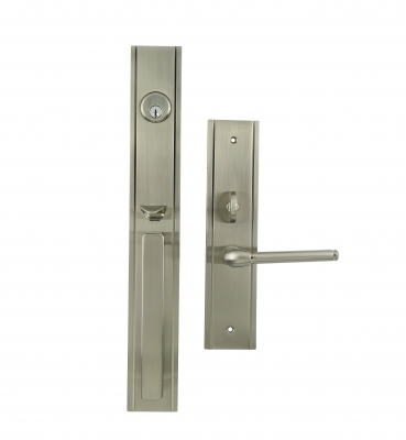 The Park Avenue – Mortise – Satin Nickel Entrance Handle Sets