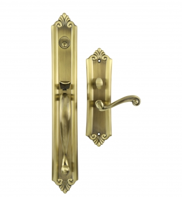 The Verona – Mortise – Antique Brass Entrance Handle Sets