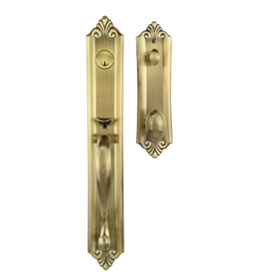The Verona – Tubular – Antique Brass Entrance Handle Sets